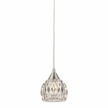 Kersey Feather Glass Mini Pendant In Satin Nickel