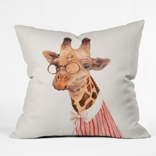 Lady Giraffe Throw Pillow