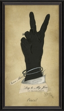 Lady's Hand Peace Hand Gesture Framed Wall Art