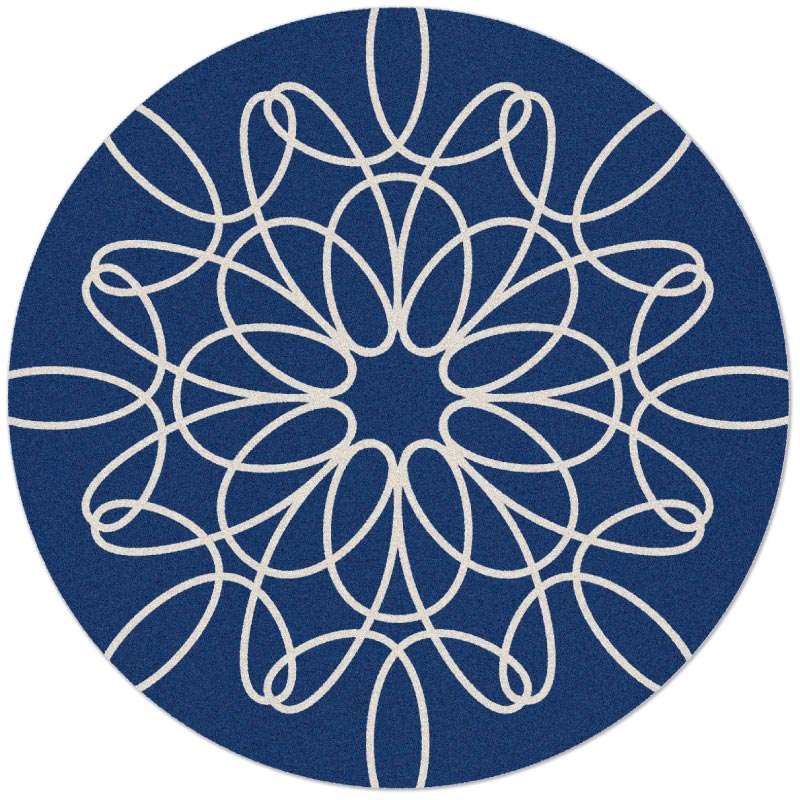 Large Round Ribbon Rug In Blue And White