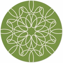 Large Round Ribbon Rug in Green and White