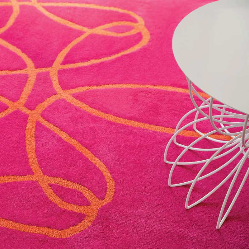 Finest Large Round Ribbon Rug In Pink And Orange With Rugs