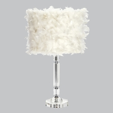 Large Slender Crystal Lamp Base with White Feather Shade