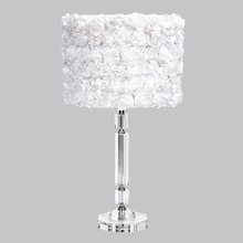 Large Slender Crystal Lamp Base with White Solid Rose Garden Shade