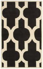 Large Trellis Print Rug in Black