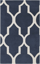 Large Trellis Print Rug in Navy