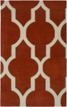 Large Trellis Print Rug in Rust