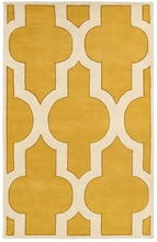 Large Trellis Print Rug in Yellow