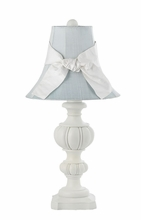 Large Urn Lamp with White Sash and Blue Shade