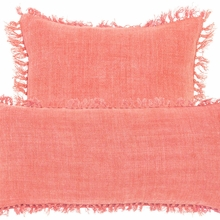 Laundered Linen Coral Square Pillow