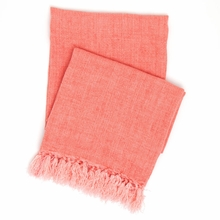 Laundered Linen Coral Throw Blanket