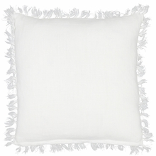 Laundered Linen White Square Pillow