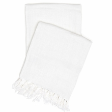 Laundered Linen White Throw Blanket