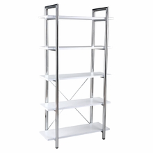 Laurence Leather Bookcase in White Leather and Chrome