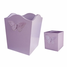 Lavender Butterfly Waste Basket and Tissue Box Set