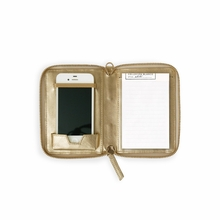 Leather Phone Pouchette in Gold