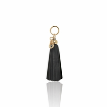 Leather Tassel Key Chain in Black