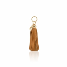 Leather Tassel Key Chain in Camel