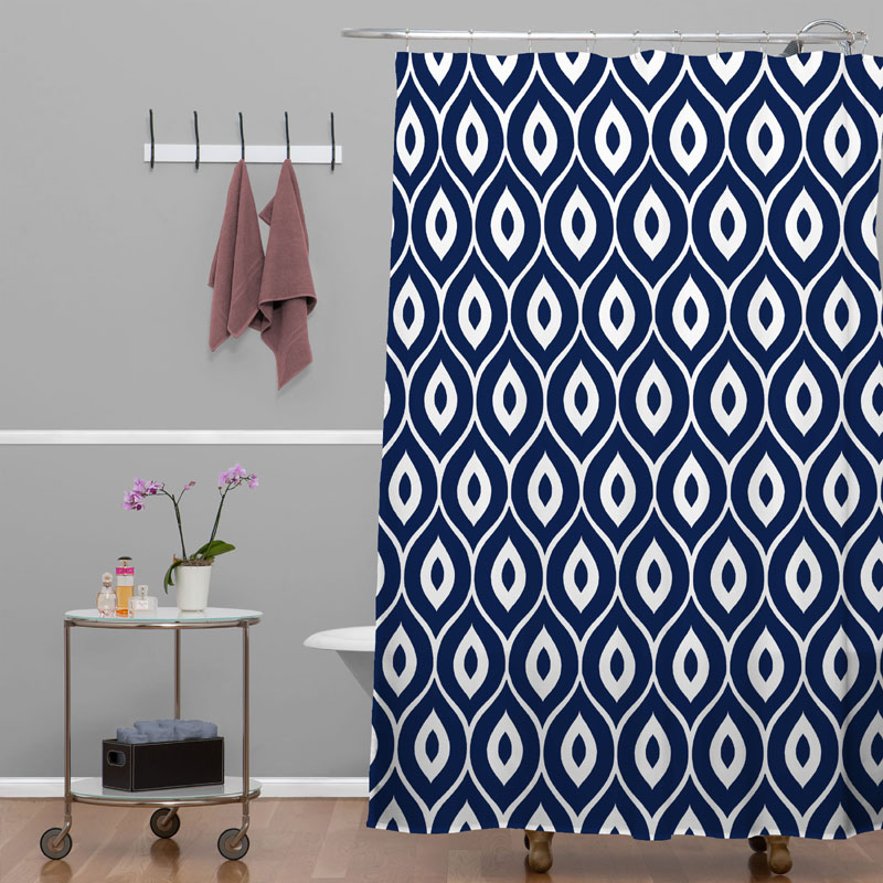 District17 Leela Navy Shower Curtain Shower Curtains
