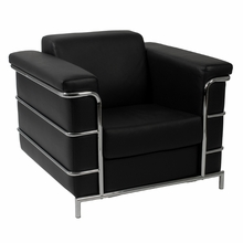 Leonardo Leather Arm Chair in Black Leather and Chrome