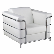 Leonardo Leather Arm Chair in White Leather and Chrome