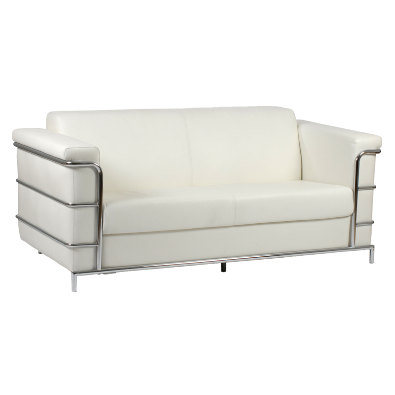 District17 Leonardo Leather Sofa in White Leather and