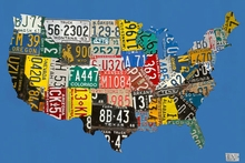 License Plate USA Map Blue Canvas Art