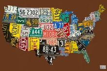 License Plate USA Map Chocolate Canvas Art