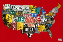 License Plate USA Map Red Canvas Art