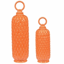 Lidded Ceramic Jars In Tangerine Orange - Set of 2
