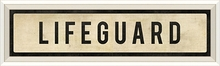 Lifeguard Street Sign in White Framed Wall Art