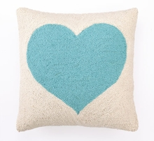 Light Blue Heart Hook Pillow