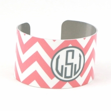 Light Pink and Gray Chevron Monogram Cuff Bracelet