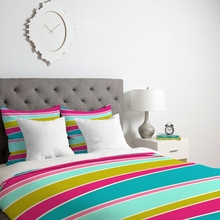 Lily Pad Striped Lightweight Duvet Cover