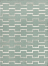 Lima Geo Blocks Flatweave Rug in Mint and Ivory