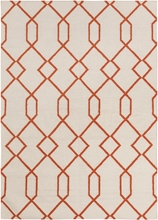 Lima Geo Lattice Flatweave Rug in Ivory and Orange