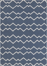 Lima Geo Waves Flatweave Rug in Blue