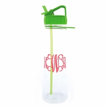 Lime Water Bottle with Hot Pink Monogram