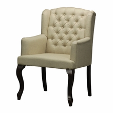 Linen Tufted Arm Chair with Nailhead Accents