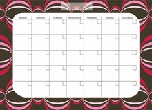 Loopy Red-Pink Monthly Peel & Stick Dry-Erase Calendar