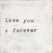 Love You X Forever Small Vintage Canvas Print on Wood