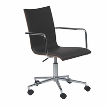 Madge Office Chair in Black and Walnut and Chrome