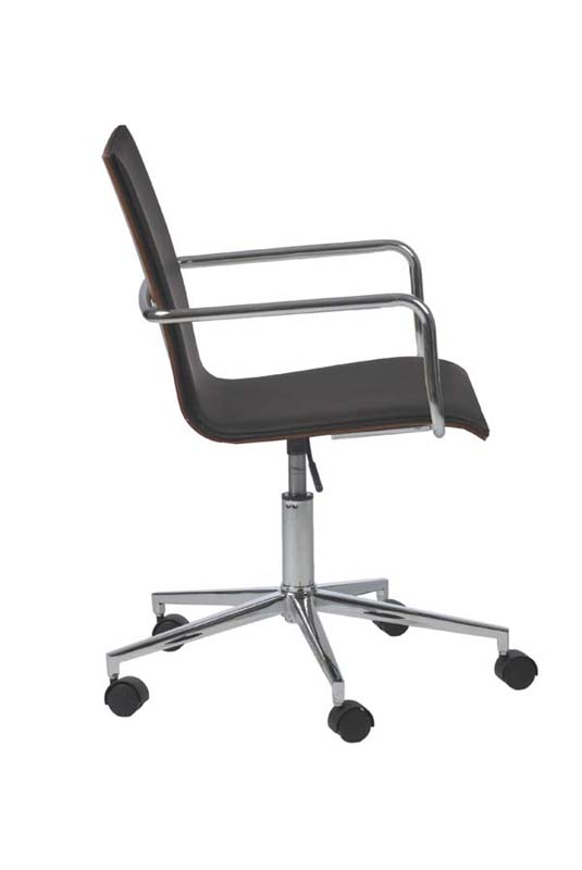 Madge Office Chair In Black And Walnut Chrome