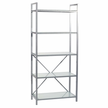 Madrid 5 Shelf Storage in Aluminum and Frosted Glass