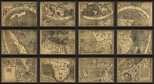 Map Of The World 12 Sections Large Framed Wall Art