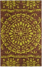Medallion Rug in Citron and Brown