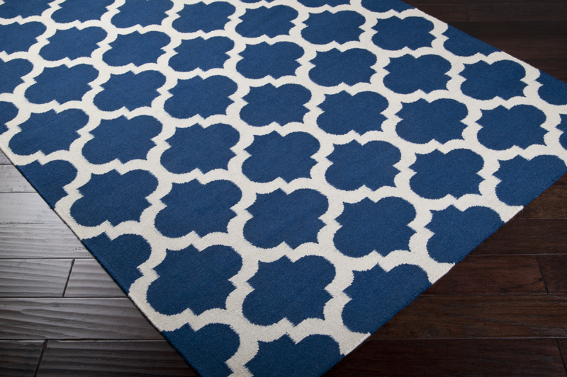Great Mediterranean Blue And White Trellis Frontier Rug