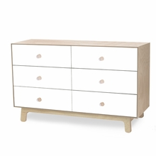 Sparrow 6 Drawer Dresser in Birch and White