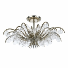 Metro Antique Silver Clear Glass Balls Semi-Flush Mount