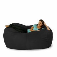 Microsuede Black Sofa Saxx Bean Bag - 6 Feet
